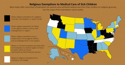 Map of USA States With Medical Exemptions from Healthcare