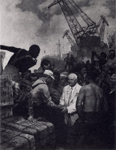 Painting of Nikita Krushchev meeting American workers