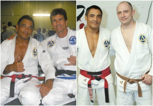 Rickson Gracie with Romolo Barros Silva, and Scott Naugle. (Via BJJEE.COM)