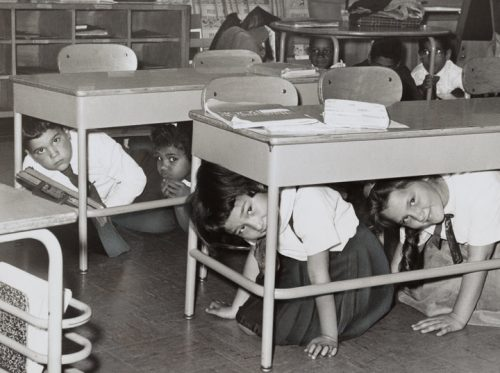 Desk duck and cover school