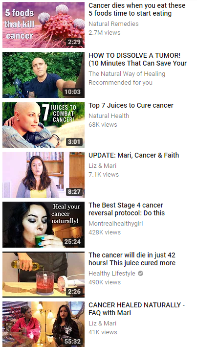 BS Videos about curing cancer with diet