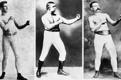 Bare-knuckle boxers, Jim Corbett, John L. Sullivan and Jake Kilrain