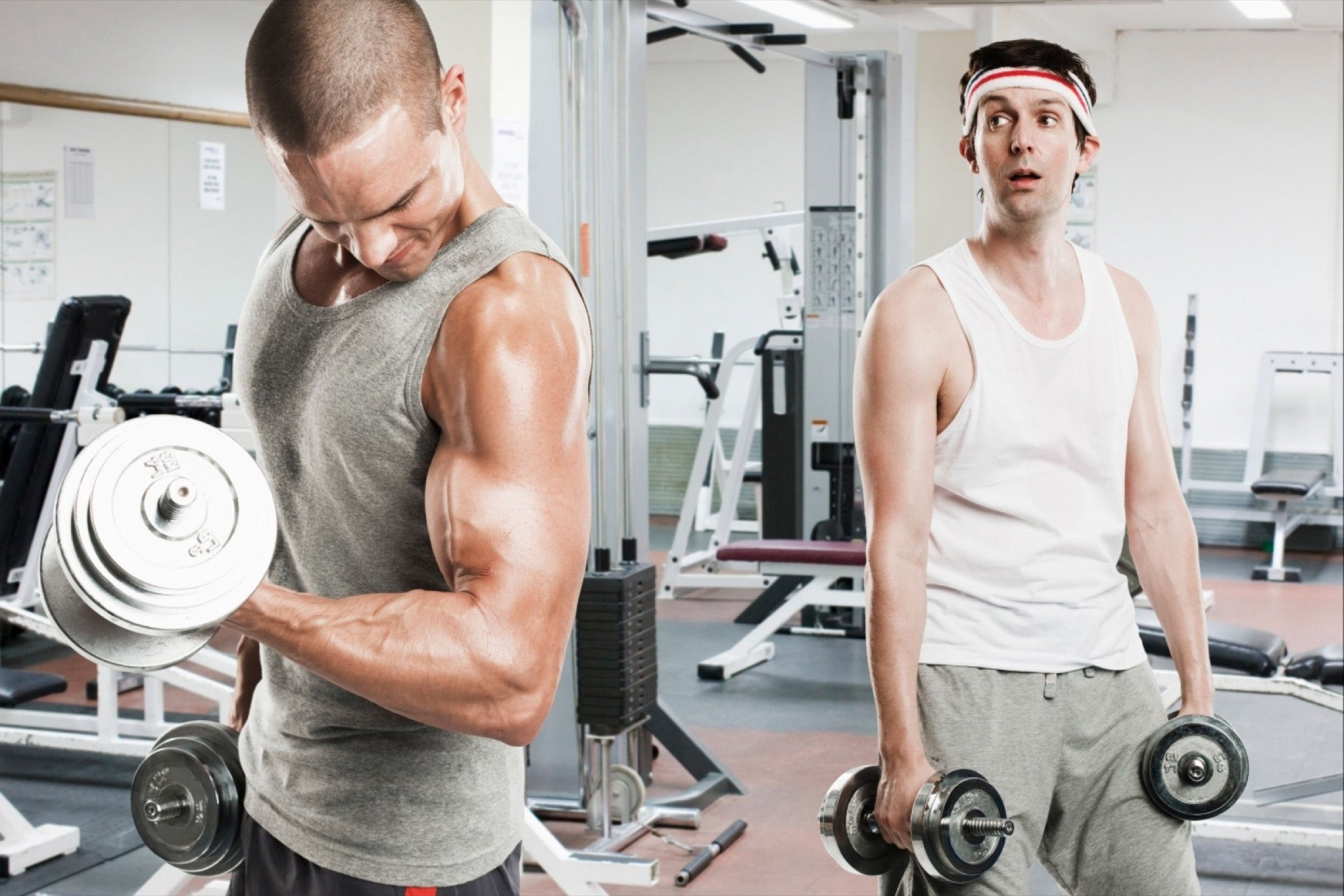 Scrawny Guy Envious of Bicep Curls Bro