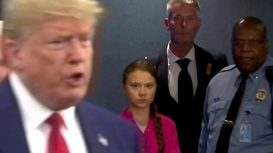 Greta Thunberg staring down Donald Trump